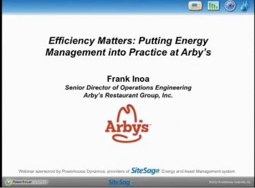 Arby's webinar Efficiency Matters