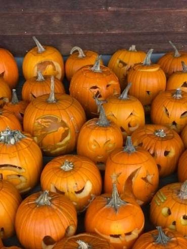 Carved jack-o'-lanterns